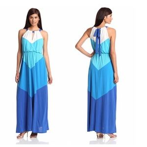 Vince Camuto Dresses - Color Blocked Chevron Sleeveless Halter Maxi Dress